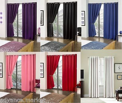 Solar Blackout Thermal Lined Curtains With Eyelet Headings Ideal For Summers