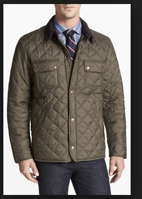 Barbour for J Crew Collaboration Tinford Quilted Jacket Coat Small Olive Green