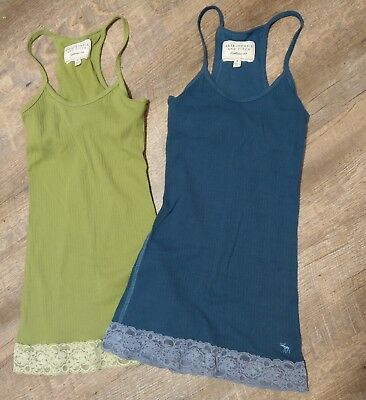 ABERCROMBIE & FITCH 2 piece set camisole tops Small Green Blue Built-in bra