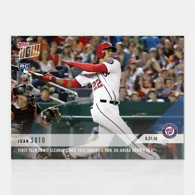 2018 Topps NOW MLB 351 Juan Soto First Teen to Hit Cleanup Since 1970