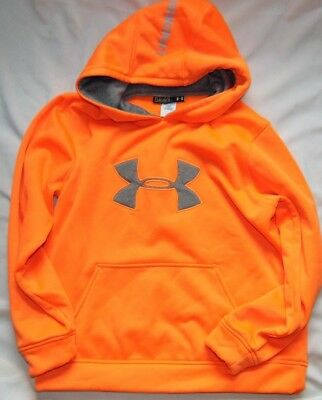 Youth Boys Neon Orange UNDER ARMOUR Storm Hoodie Sweatshirt Sz YLG