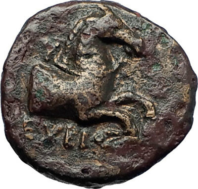 KYME in AEOLIS - Genuine 350BC Authentic Ancient Greek Coin  HORSE & VASE i70418