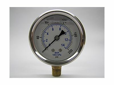 NEW STAINLESS STEEL LIQUID FILLED PRESSURE GAUGE WOG WATER OIL GAS 0 to 200 P...