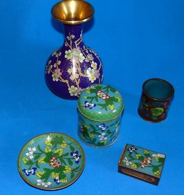 lot  old/ vintage /cloisonee  /enameled  China  TABAC SET /VASE /POT