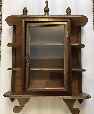 VTG. Wooden Display Curio Cabinet Footed Hanging ~ 14 WIDE x 15 TALL x 5 DEEP