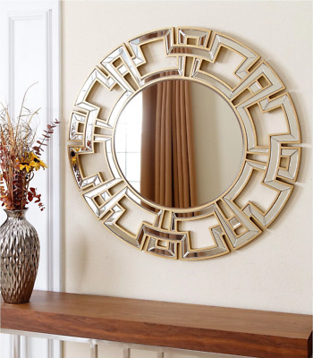 Wall Mirror Large Round Gold Framed Modern Contemporary Home Accent