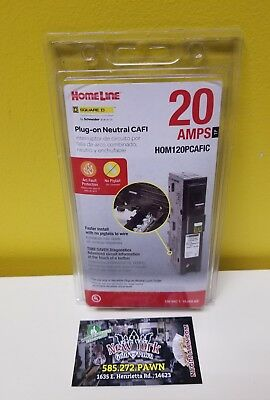 HomeLine SQUARE D HOM120PCAFIC Plug-on Neutral CAFI 20 AMPS Breaker. New.