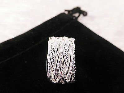 Unisex Silver Plated Adjustable Mesh Multi Strand Weave Ring & Free Gift Bag