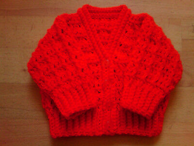 Handmade Hand Crocheted Unisex Baby Cable Cardigan 100% Acrylic various colours.