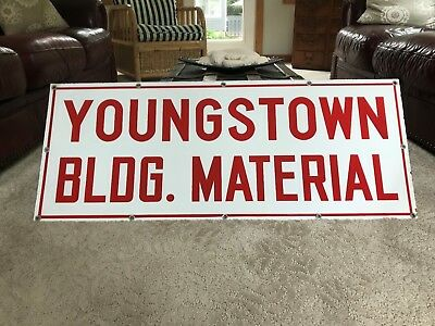 "OLD YBM YOUNGSTOWN BUILDING MATERIAL 40 x 16"" ADVERTISING 2 SIDED PORCELAIN SIGN"