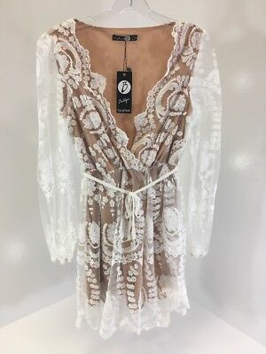 Boohoo Boutique Womens Emma Lace Plunge Skater Dress Ivory