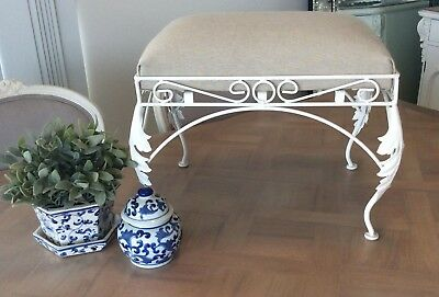 Foot Stool I French Provincial I Wrought Iron and Linen I As New Condition