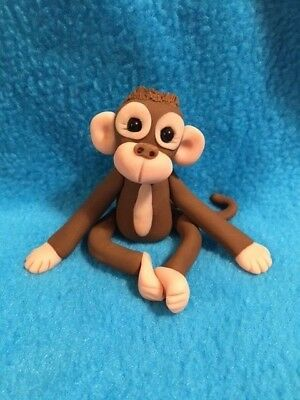Adorable Large Sitting Monkey Figurine -  New OOAK - Handmade
