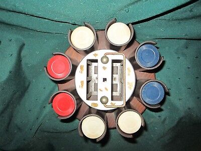 Wood 'Lazy Susan' Poker Chip/Card Decks Holder~G~Vintage