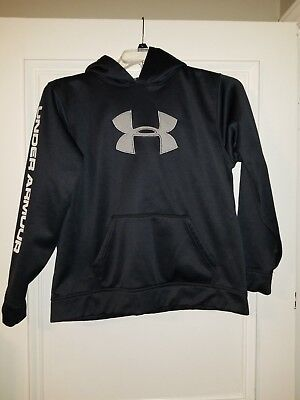 Under Armour Boy's Loose Black Logo Pullover Hoodie Size YXL