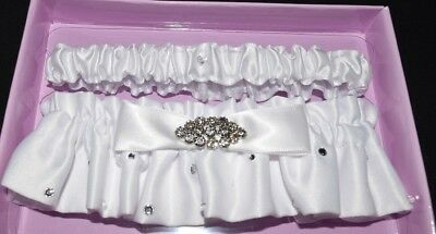 Nip Set 2 White Satin Wedding Groom Bride Bridal Garters Rhinestones His & Hers