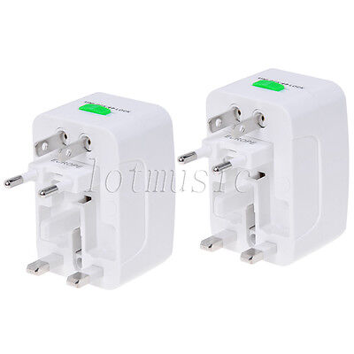 2Pcs Universal Travel AC Power Adaptor Adapter Converter Plug AU UK US EU HK JP