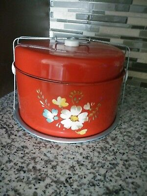 Vintage Tin Metal Cake & Pie Travel Carrier - 30's /40's - Red Flowered
