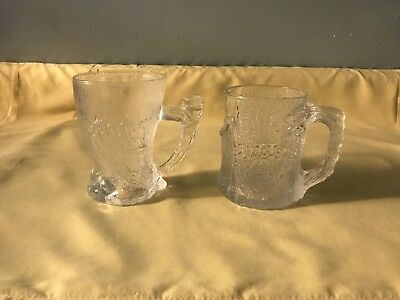 2 1993 McDonald's Flintstones Movie collectable glass mugs Treemendous Mammouth