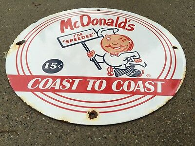 Vintage Porcelain McDonalds Fast Food Sign Ronald Hamburger Fries Advertising