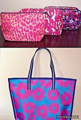 NEW 4PC Estee Lauder Reversible Shopper Shoulder Tote, Beach Bag +3 Cosmetic Bag