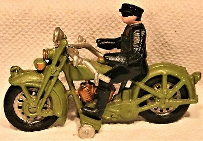 "Vintage Cast Iron Cop Police Man Motorcycle 81/2"" Antique Toy Unknown if Hubley"