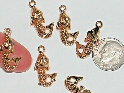 7pc Miniature little Gold plated metal Ocean Mermaid tail Pendant charm dangle
