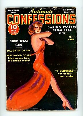 Pulp: Intimate Confessions, April 1938 - strip tease girl