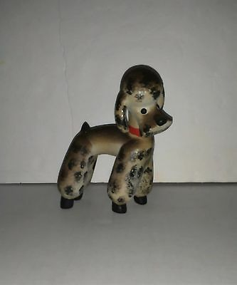 Vintage Porcelain Poodle Dog Figurine Black Spotted Dotted Dog Red Neck Collar