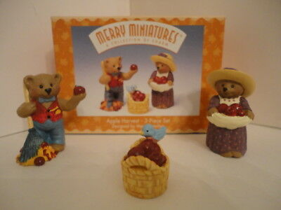 "Merry Miniatures ""Apple Harvest"" 3-Piece Set in Box - Hallmark (Autumn Fall)"