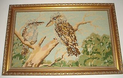 Kookaburra Birds Tapestry Australiana Hand Crafted Framed Vintage Retro Decor