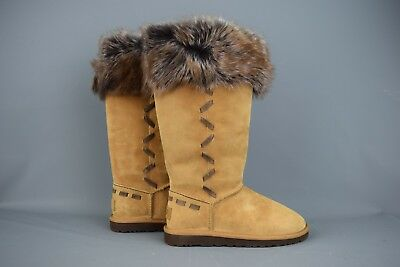 641bfb19f4a UGG 'ROSANA' BROWN Suede Tall Boots Thick Lined Fur Trim Womens Size ...