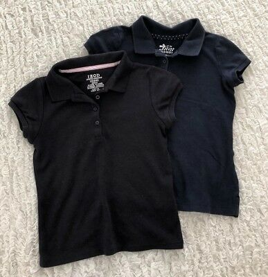 Girls 5/6 School Uniform Polos - Set Of 2 Navy Short Sleeved