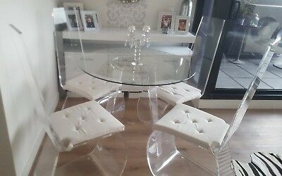 Perspex / glass top dining table and 4 x perspex chairs