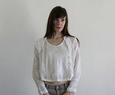1900s Antique Edwardian Blouse . Pin Tucks. Lace . Pointed Sailor Collar.