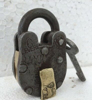 Vintage Rare Iron Brass Lock and Key Collectible ALIGARD 6LEVERS BANK LOCK