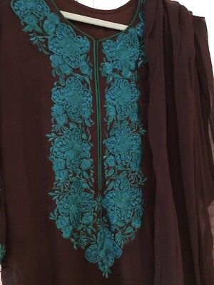 Small Chocolate Brown Turquoise Pure Chiffon Embroidered Kameez