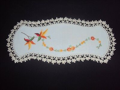 Embroidered  &  Crochet  Vintage Doily For Sandwich Tray  - Autumn Colours