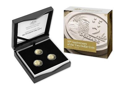 2018 $2 30Th Anniversary Of $2 - Three (3) Coin Proof Set-Rare Only 1,988 Issued