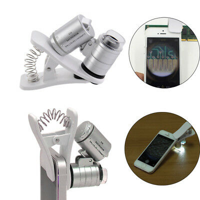 Universal 3LEDs Clip-on Mobile Phone Microscope Magnifier Micro Lens 60X Camera