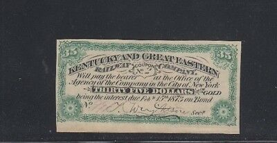 Kentucky and Great Eastern Railway Company 1873 Bond Coupon