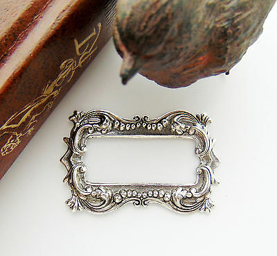 ANTIQUE SILVER Victorian Bijou Ornate Scroll Frame Stamping Oxidized (FB-6023)