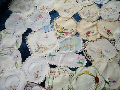 Bulk 41 Vintage Hand Embroidered doilies & Sets Use / craft? VGC Budgie/Willow+