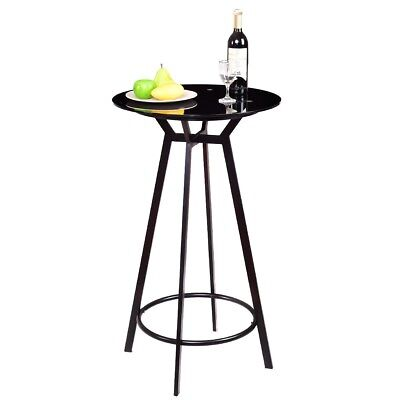 Groovy Modern Round Bar Table Glass Top Metal Frame Bar Bistro Pub Forskolin Free Trial Chair Design Images Forskolin Free Trialorg
