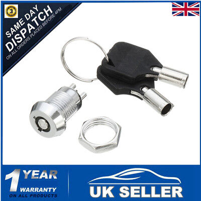 Key Operated Security Switch Lock Set Pole Single Throw SPST 2 Position ON/OFF