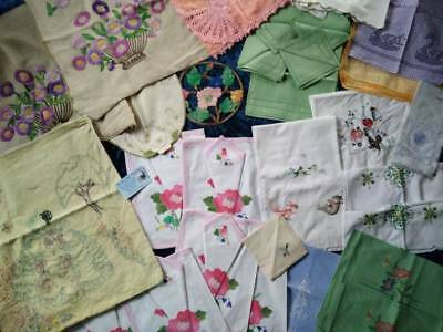 Bulk 34 Mixed Bag Linens/covers/cloths++  GC Use or craft? & lots extras