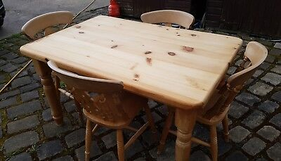 Farmhouse Style Solid Pine Kitchen Table and 4 Matching Chairs