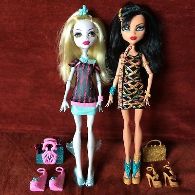 Monster High Dolls - Cleo De Nile & Lagoona Blue Plus Acc- Pre-Owned Great Cond.