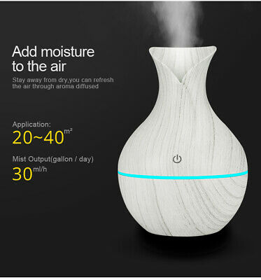 USB Humidifier Aroma Diffuser Ultrasonic Wood Air Mist Maker LED lights for home