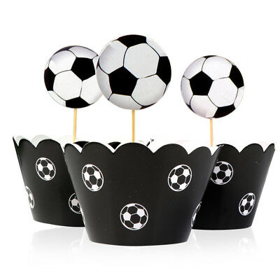 24PCS Football Wrap Soccers Cupcake Toppers & Wrappers Kid Birthday Party Decor